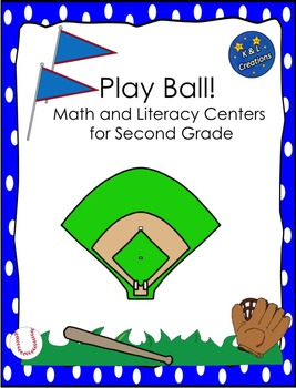 Play Ball!  Math and Literacy Centers/Task Cards for Second Grade