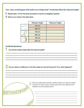Play Ball - Potential and Kinetic Energy Lab Investigation {Editable}