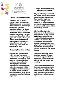 Play Based Learning Pamphlet