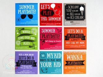 Play Date Cards | Editable PDF | Printable Invitations