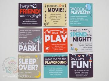 Play Date Cards/Sleepover Invites | Editable PDF | Printable Invitations