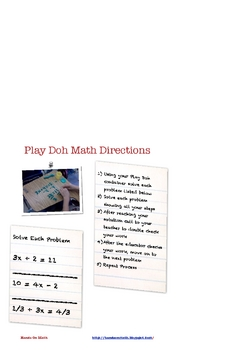 """Play Doh Algebra """"Math Packet"""" For Teaching Equations"""