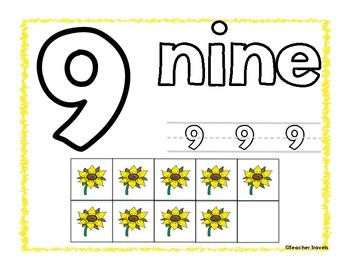 Play-Doh Counting Mats - Fall Sunflower Theme
