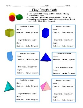 Play Dough Math (Hands on Cross Sections of 3D figures)