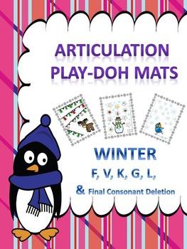 Play Doh Mats Articulation (K G F V L R TH SH CH s-blends, Final Sounds)