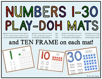 Play-Doh Number Mats 1-30 w/ Ten Frame & Traceable Number & Word - Pre-K,K,1,2