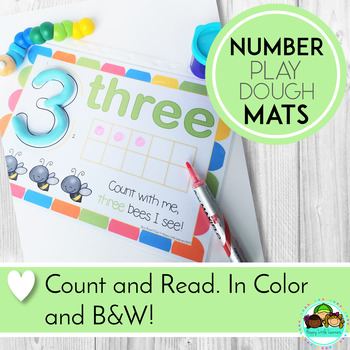Playdough Mats Numbers 1 - 20, With Ten Frames, Words, and Numerals