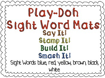 Play-Doh Sight Word Mats for Sight Words: blue, red, yellow, black, brown, white
