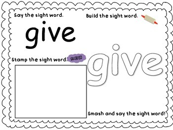 Play-Doh Sight Word Mats for Sight Words: give, were, you, I'll, hard