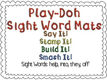 Play-Doh Sight Word Mats for Sight Words: help, into, they, off