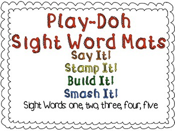 Play-Doh Sight Word Mats for Sight Words: one, two, three, four, five
