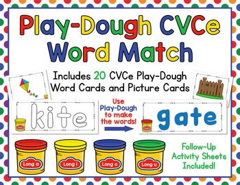 Play-Dough CVCe Word and Picture Match - Make and Match Long Vowel Words