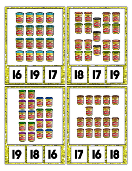 Play Dough Can Counting Clip Cards to 20 ~ Fun Math Center for Preschool Daycare