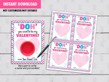 Play Dough Card DIY Printable, DOH you want to be my Valentine? Gift Ideas