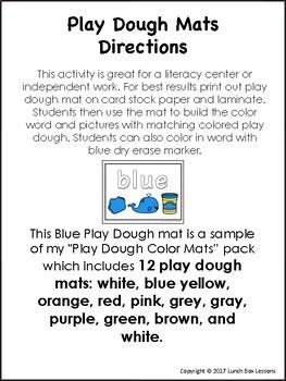 Play Dough Color Mat-Blue *FREE*