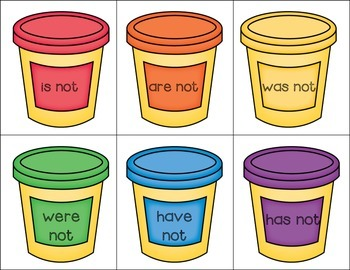 Play Dough Contractions Matching Activity with Differentiation