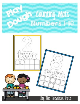 Play Dough Counting Mats- 10 Frames, Counting, Number Identification