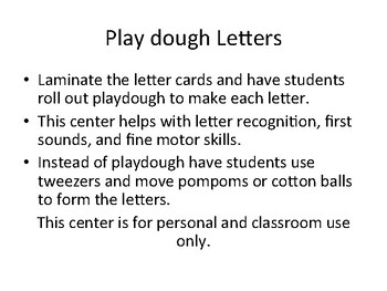 Play Dough Letter Center