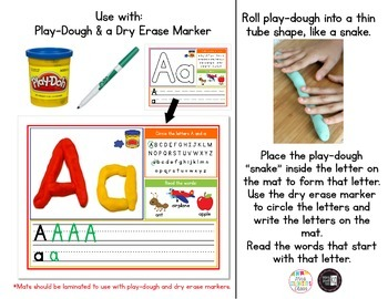 Play-Dough Letter Mats A-Z - Great for Word Work or Literacy Centers