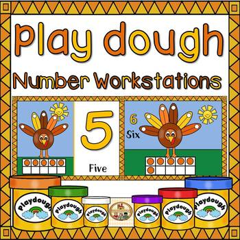 Play Dough Math Workstation-Numbers-1-10-Thanksgiving Edition