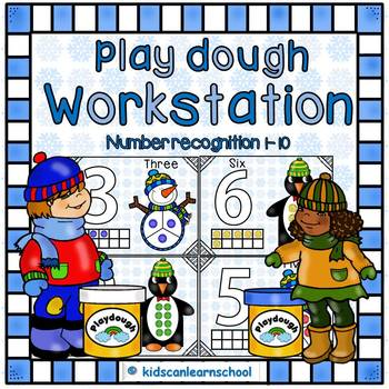 Play Dough Math Workstation-Numbers-1-10-Winter