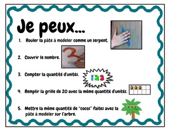 Play Dough Mats-#1-20-Apple Tree Theme FRENCH Version Lots of Fun!