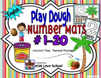 Play Dough Mats-#1-20-Coconut Tree Theme ENGLISH Version Lots of Fun!