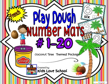 Play Dough Mats-#1-20-Coconut Tree Theme FRENCH Version Lots of Fun!