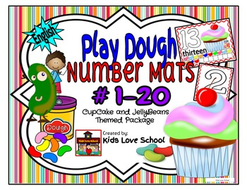 Play Dough Mats-#1-20-Cupcakes and JellyBeans Theme ENGLISH Version Lots of Fun!