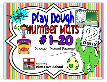 Play Dough Mats-#1-20-Dinosaur Theme ENGLISH Version Lots of Fun!