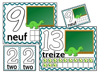 Play Dough Mats-#1-20-Dinosaur Theme FRENCH Version Lots of Fun!
