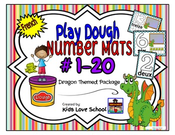 Play Dough Mats-#1-20-Dragon Theme FRENCH Version Lots of Fun!