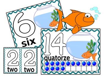 Play Dough Mats-#1-20-Goldfish Theme FRENCH Version Lots of Fun!