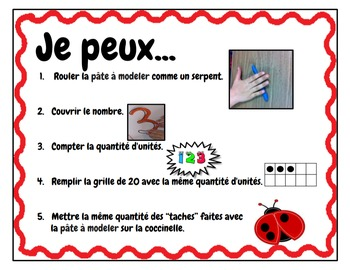 Play Dough Mats-#1-20-LadyBug Theme FRENCH Version Lots of Fun!