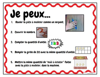 Play Dough Mats-#1-20-Popcorn  Theme FRENCH Version Lots of Fun!