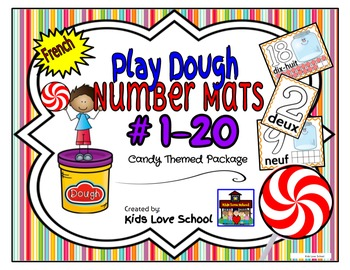 Play Dough Mats-#1-20-Swirly Candy Theme FRENCH-Version Lots of Hands On Fun!
