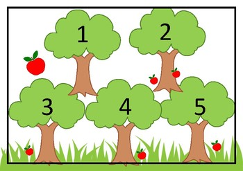 Play Dough Mats - Counting apples on a tree