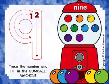 GUMBALL MATH - Play Dough - Number Counting Mats 1 - 10