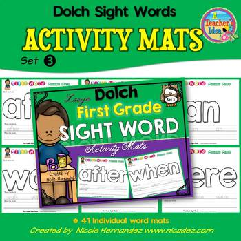 Playdough (Playdoh) 41 First Grade Dolch Sight Words Moulding (Molding) Mats