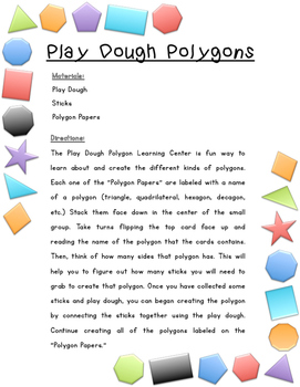 Play Dough Polygons - Learning Center