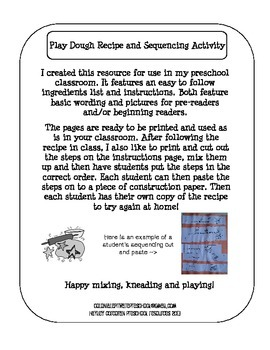 Play Dough Recipe and Sequencing Activity