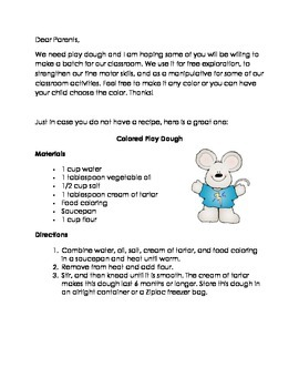 Play Dough Request Letter