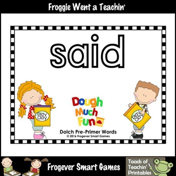 "Play Dough Sight Words--Dolch Pre-Primer Play Dough Mats ""Dough Much Fun"""
