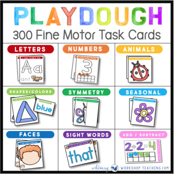 Play Dough Task Cards - 9 Sets - 300 Cards - Alphabet, Numbers, Sight Words