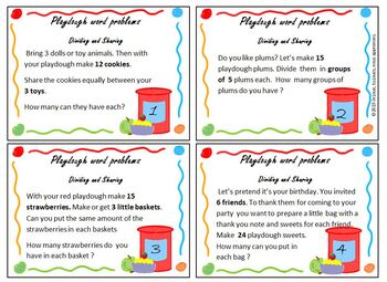 Play Dough Word Problem Task Cards, Dividing and Sharing