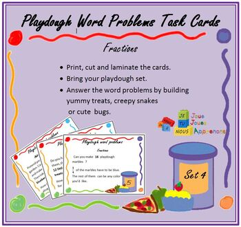 Play Dough Word Problem Task Cards, Fractions