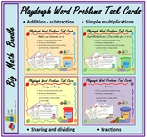 Play Dough Word Problems Task cards Bundle