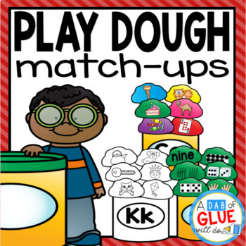 Play Dough initial Sound and Number Match-Ups Bundle