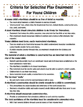 Play Materials For Children (A List For Teachers & Daycare Owners)