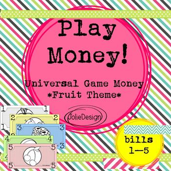 Play Money Fruit Theme, Universal Game Money, Dramatic Play, Math Center